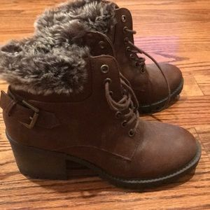 Brown Leather Boots with Fur